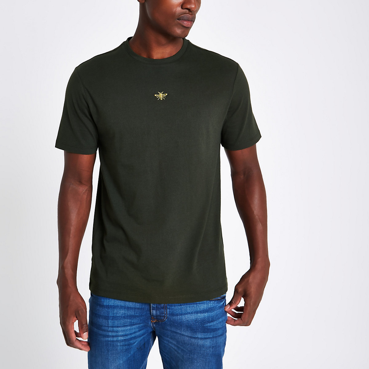 Khaki green slim fit wasp embroidery T-shirt