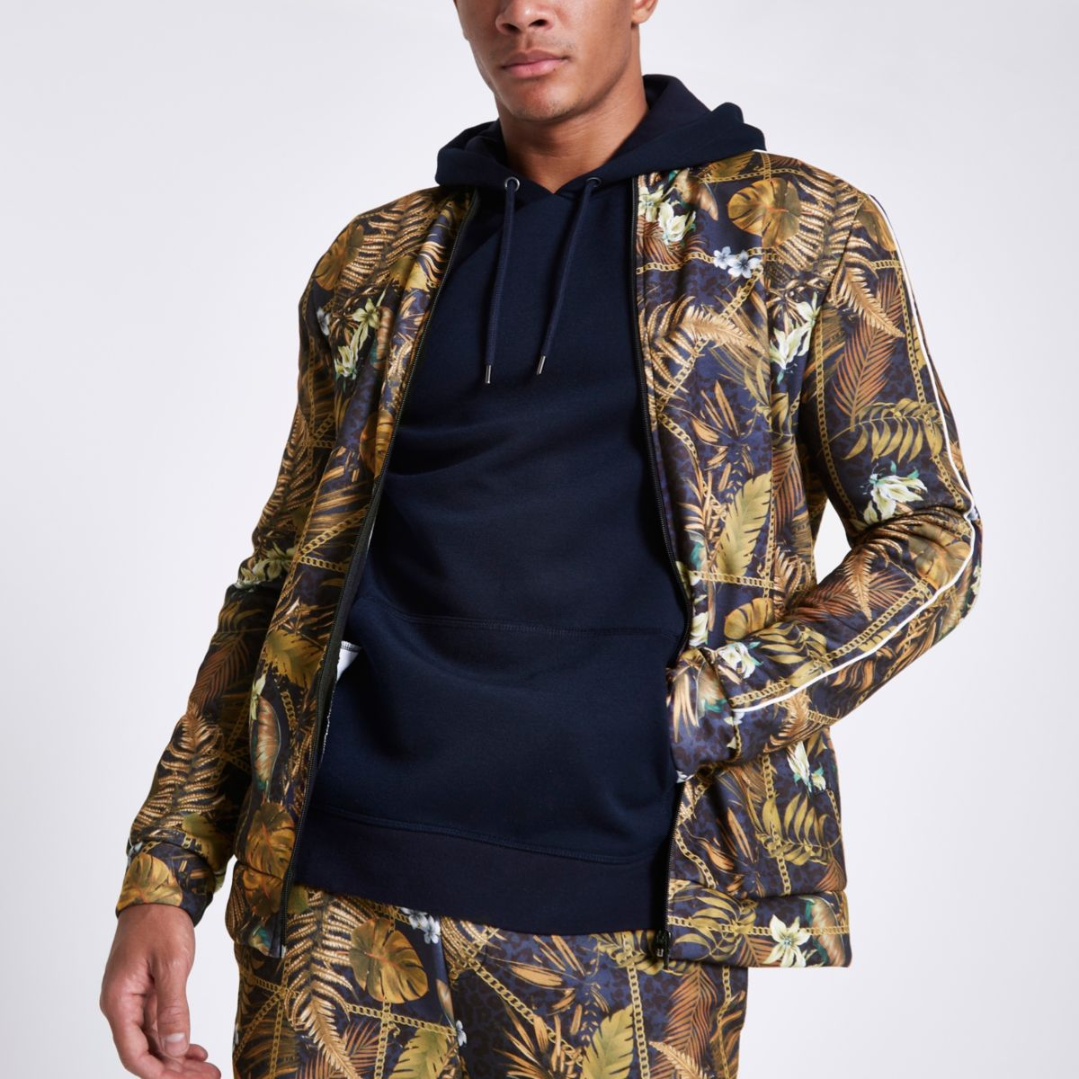 Black palm chain print slim fit track jacket