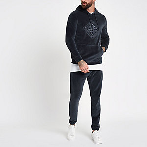 Sweat à capuche en velours gris anthracite brodé