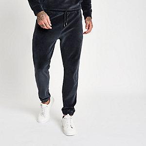 Pantalon de jogging slim en velours gris foncé