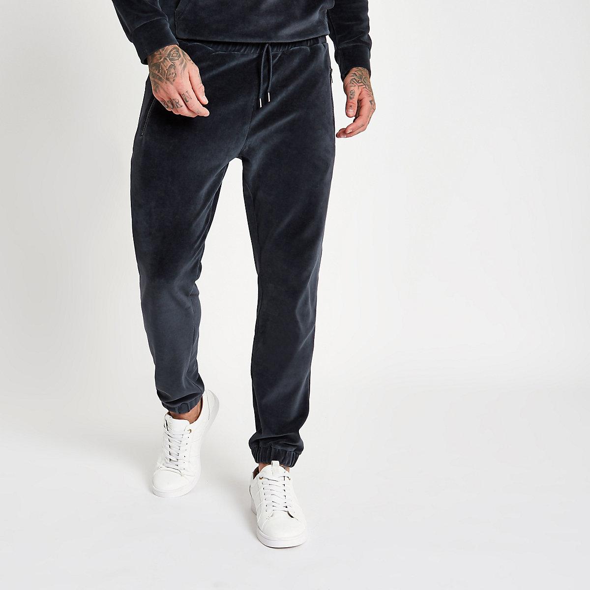 Dark grey slim fit velour joggers