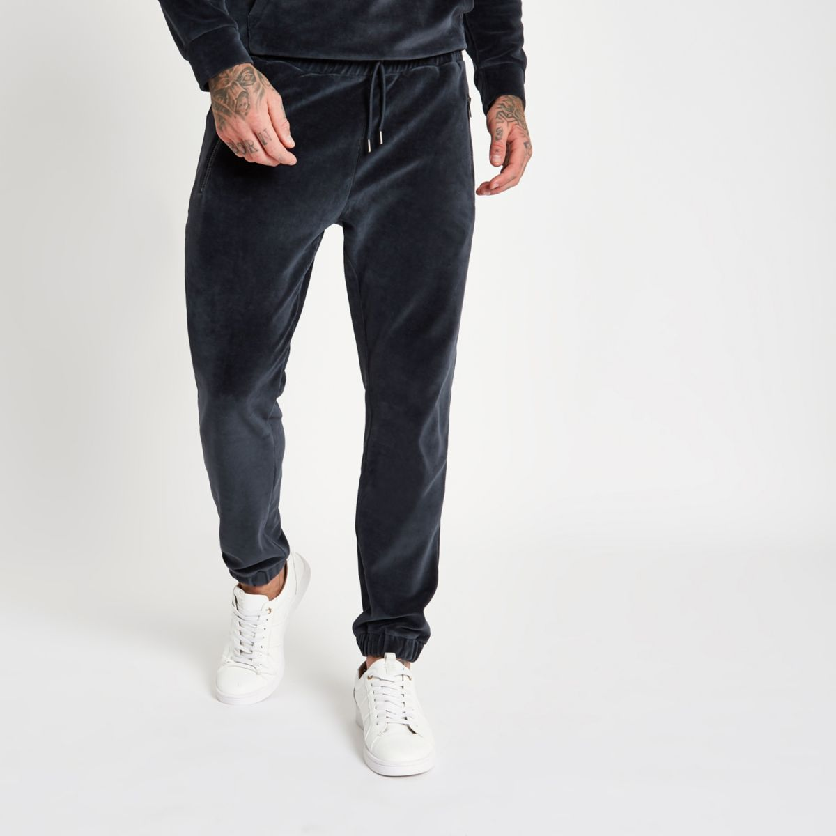 Dark grey slim fit velour joggers