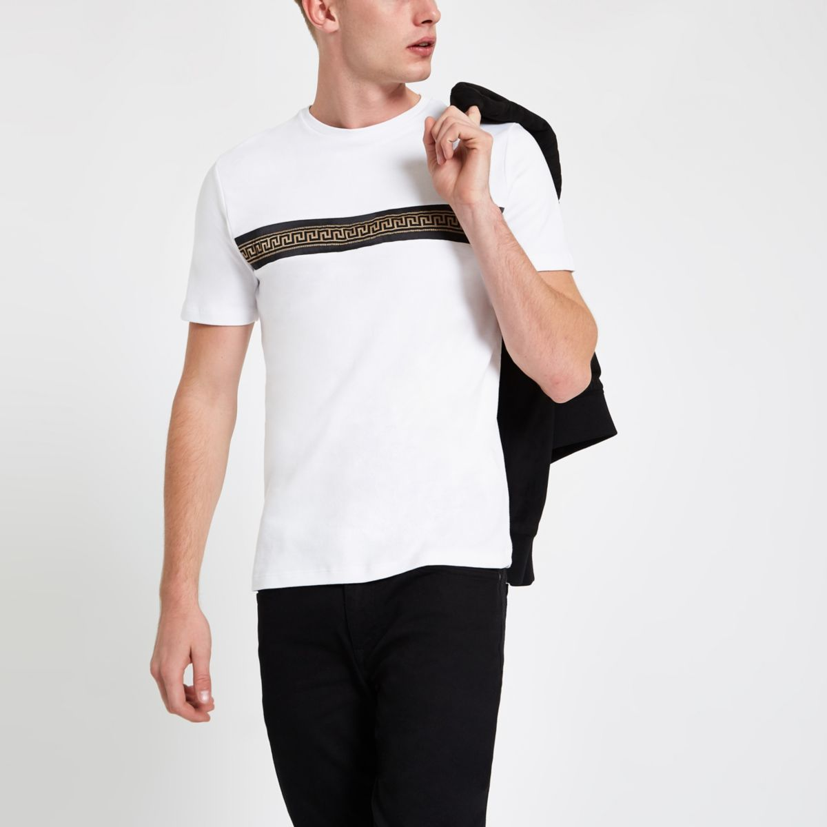 White slim fit chest tape T-shirt