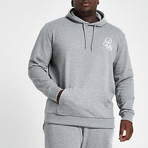 Big and Tall grey slim fit embroidered hoodie