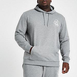Big & Tall – Grauer, bestickter Slim Fit Hoodie