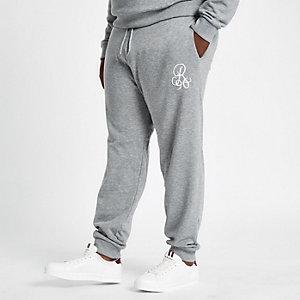 Big & Tall – Graue Slim Fit Jogginghose mit Stickerei
