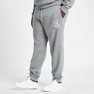 Big & Tall – Pantalon de jogging slim gris brodé