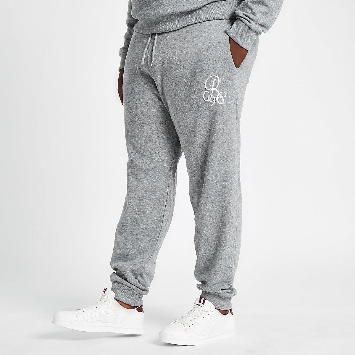 Big and Tall grey slim fit R96 joggers
