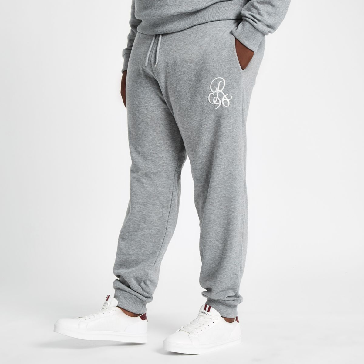 Big and Tall grey slim fit R96 joggers