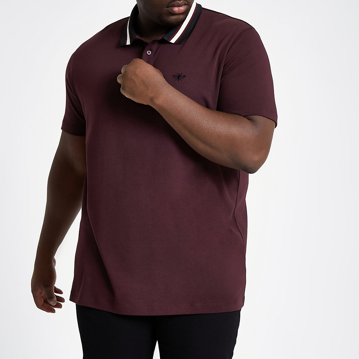 Big & Tall – Slim Fit Polohemd in Bordeaux