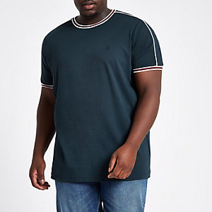Big and Tall navy tipped crew neck T-shirt