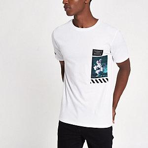 T-shirt slim blanc à fleurs sur le devant