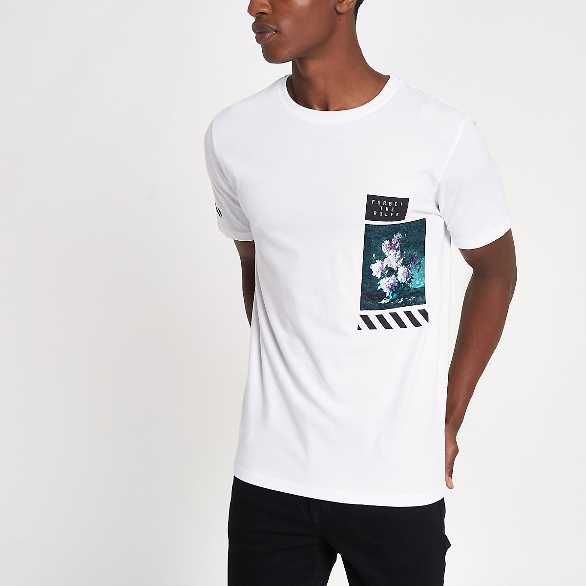 White slim fit front floral print T-shirt