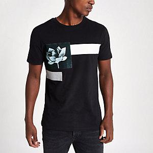T-shirt slim noir à fleurs sur le devant