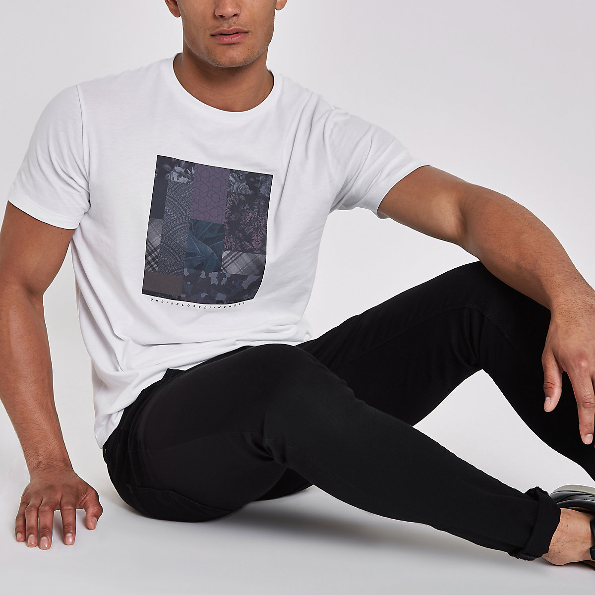 White patchwork print slim fit T-shirt