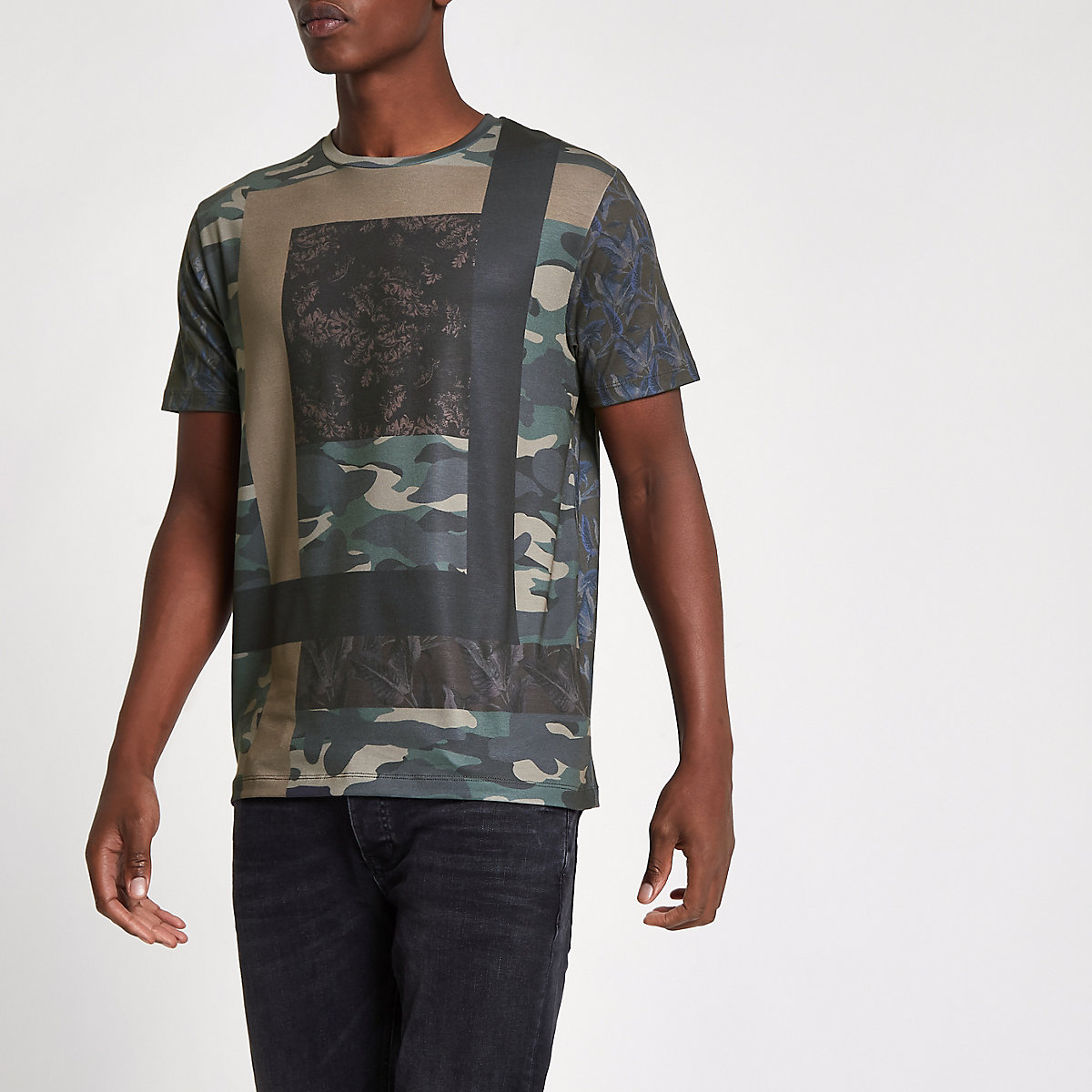 Green camo print slim fit T-shirt