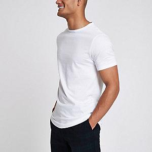 Langes, weißes T-Shirt mit Rundhalsausschnitt