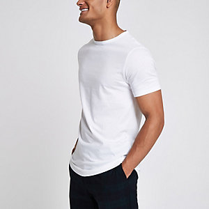 Wit lang T-shirt met ronde hals