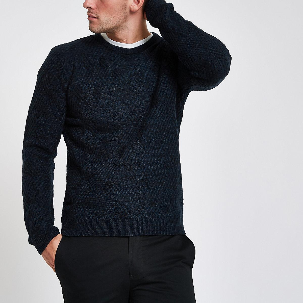 Bellfield – Marineblauer, strukturierter Pullover mit Rundhalsausschnitt