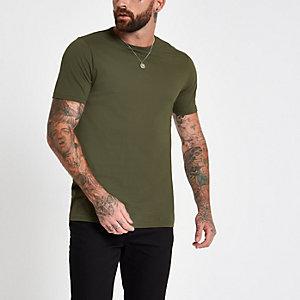 Donkergroen lang T-shirt met ronde hals
