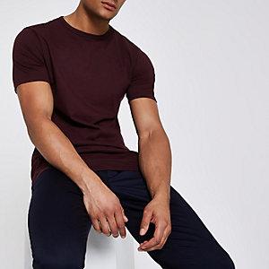 Donkerrood lang T-shirt met ronde hals