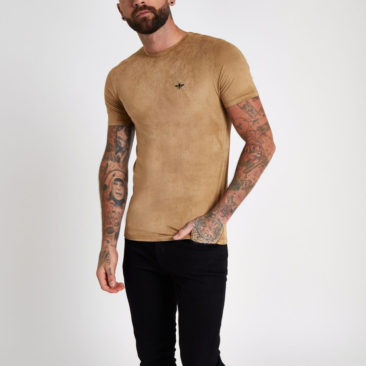 Yellow muscle fit faux suede T-shirt