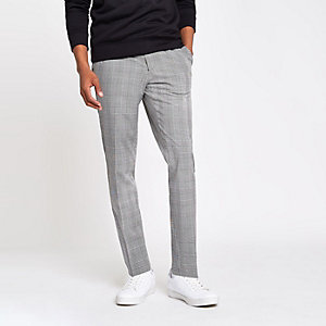 Black check skinny smart pants