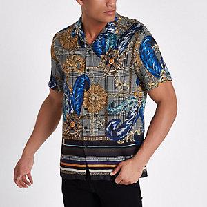 Grijs geruit overhemd met revers en barokke print