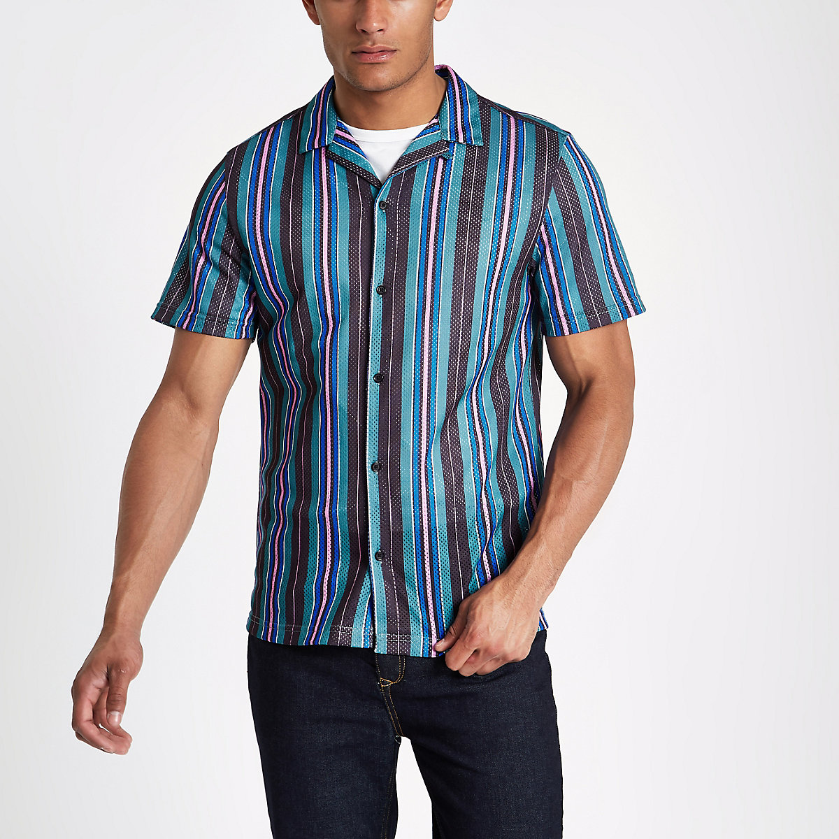 Black stripe print mesh short sleeve shirt
