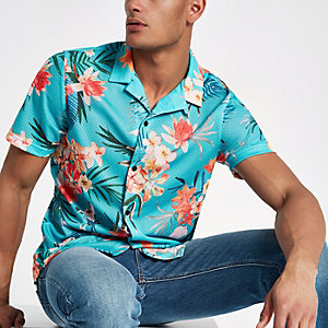 Blue floral print mesh short sleeve shirt
