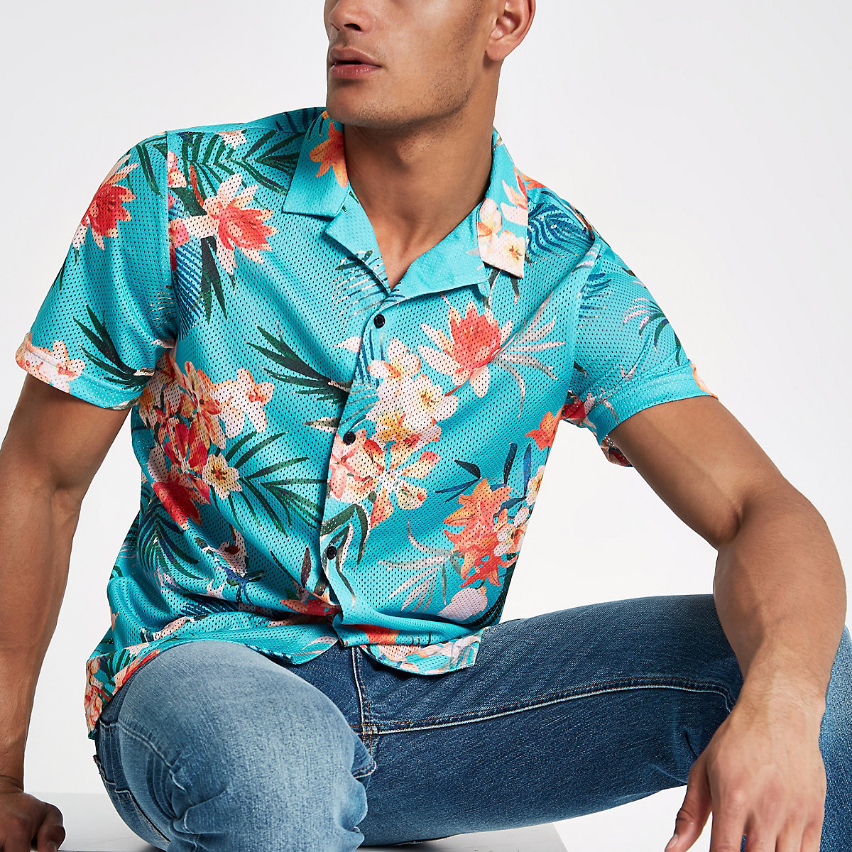 Blue floral print mesh short sleeve shirt