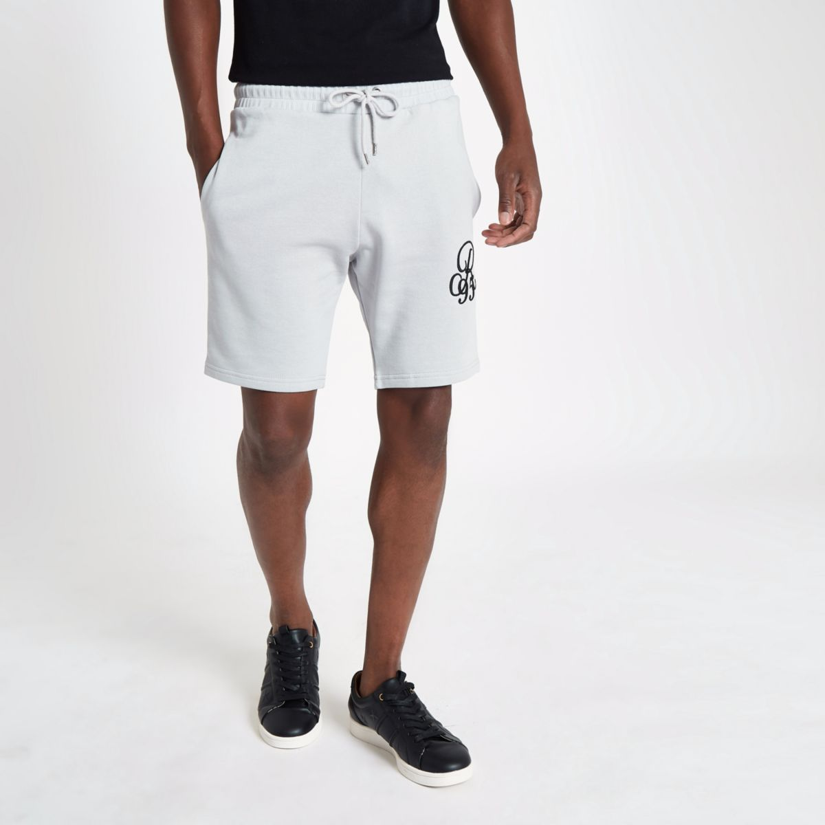 Grey embroidered slim fit shorts