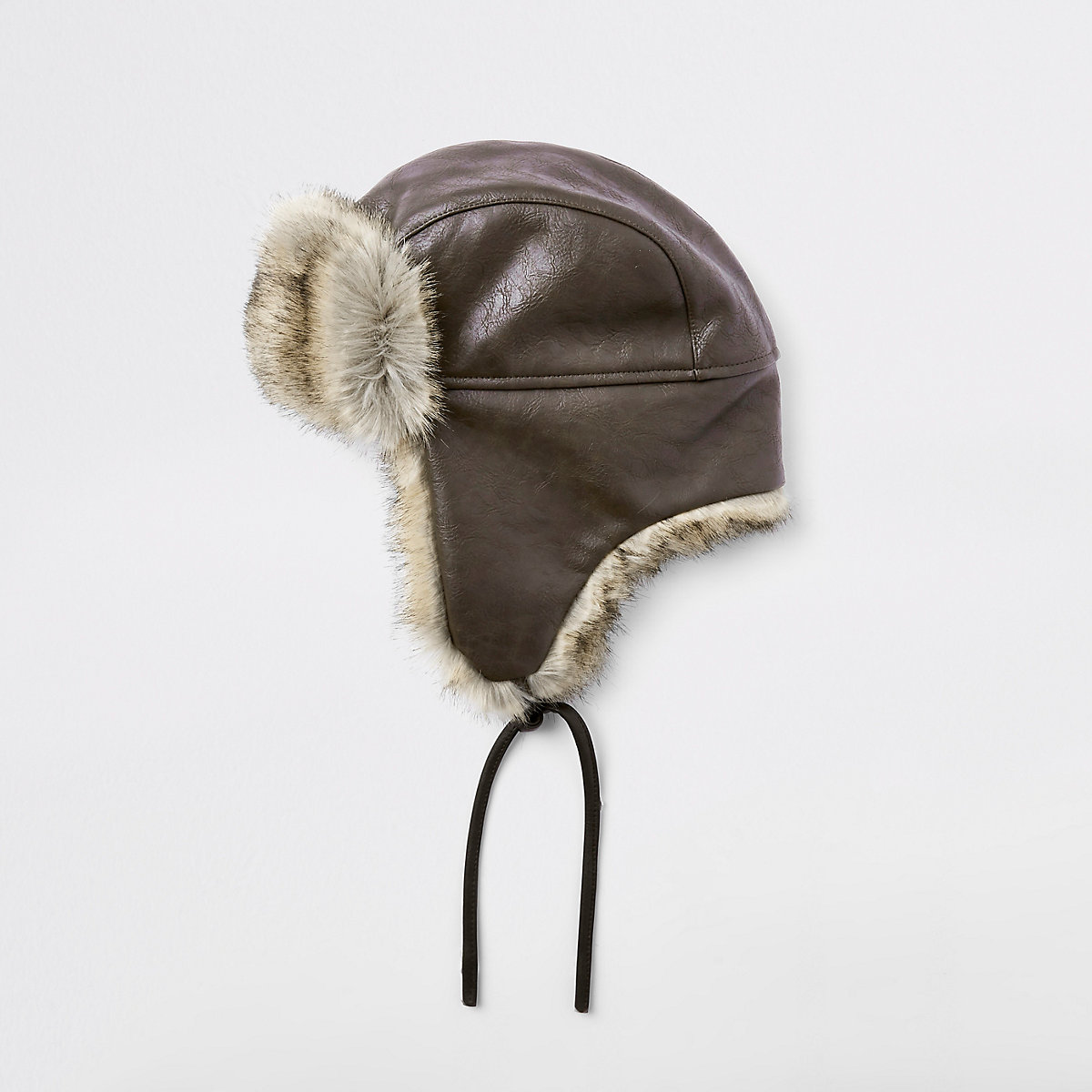 Brown leather faux fur trapper hat - Hats   Caps - Accessories - men 584e33d2def6