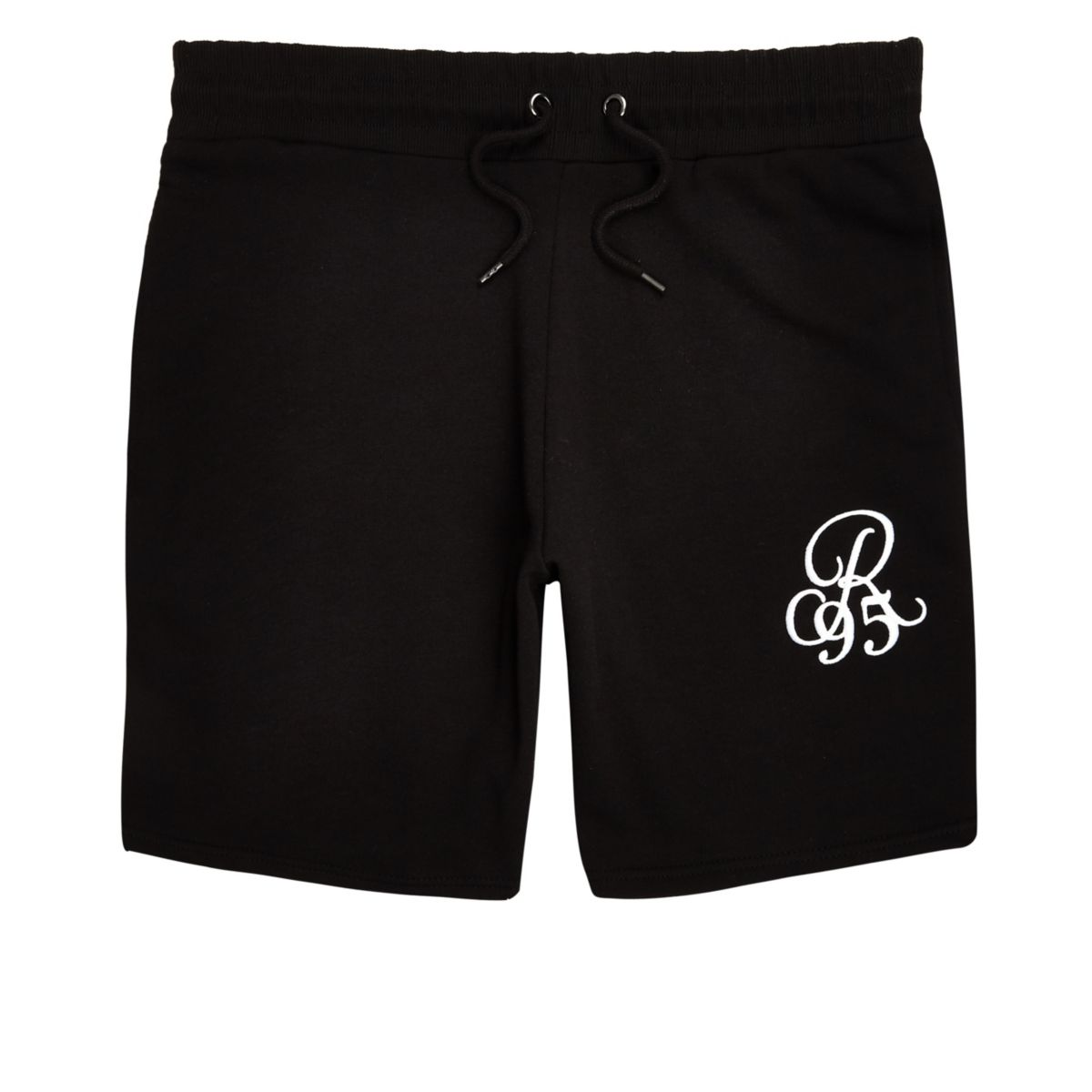 Black embroidered slim fit shorts