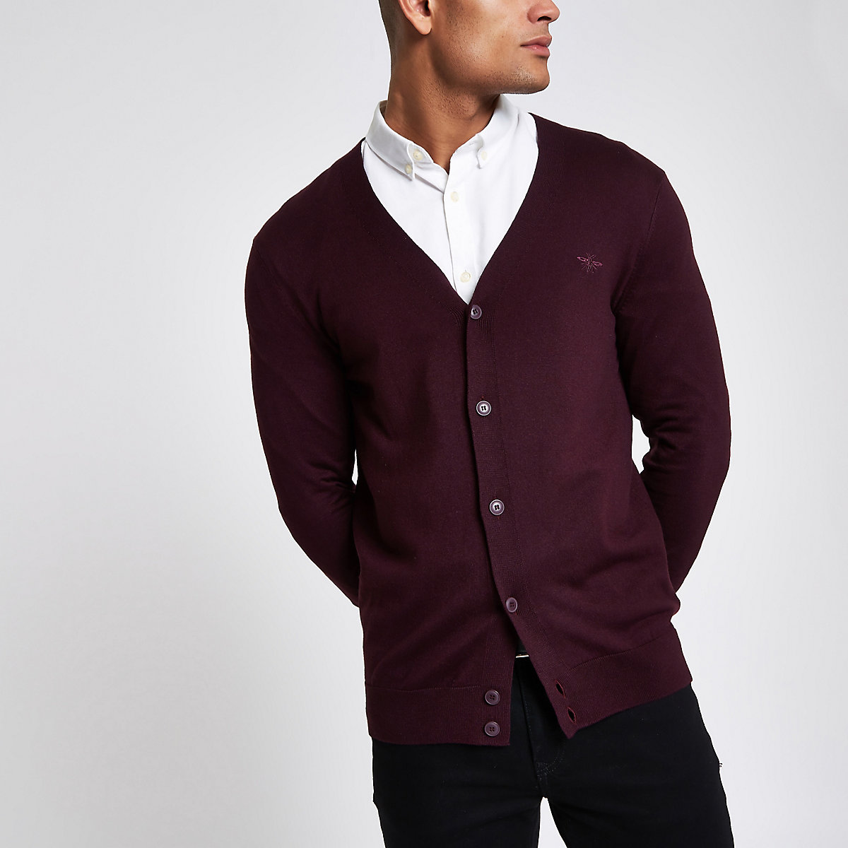 Dark red V neck button-down cardigan