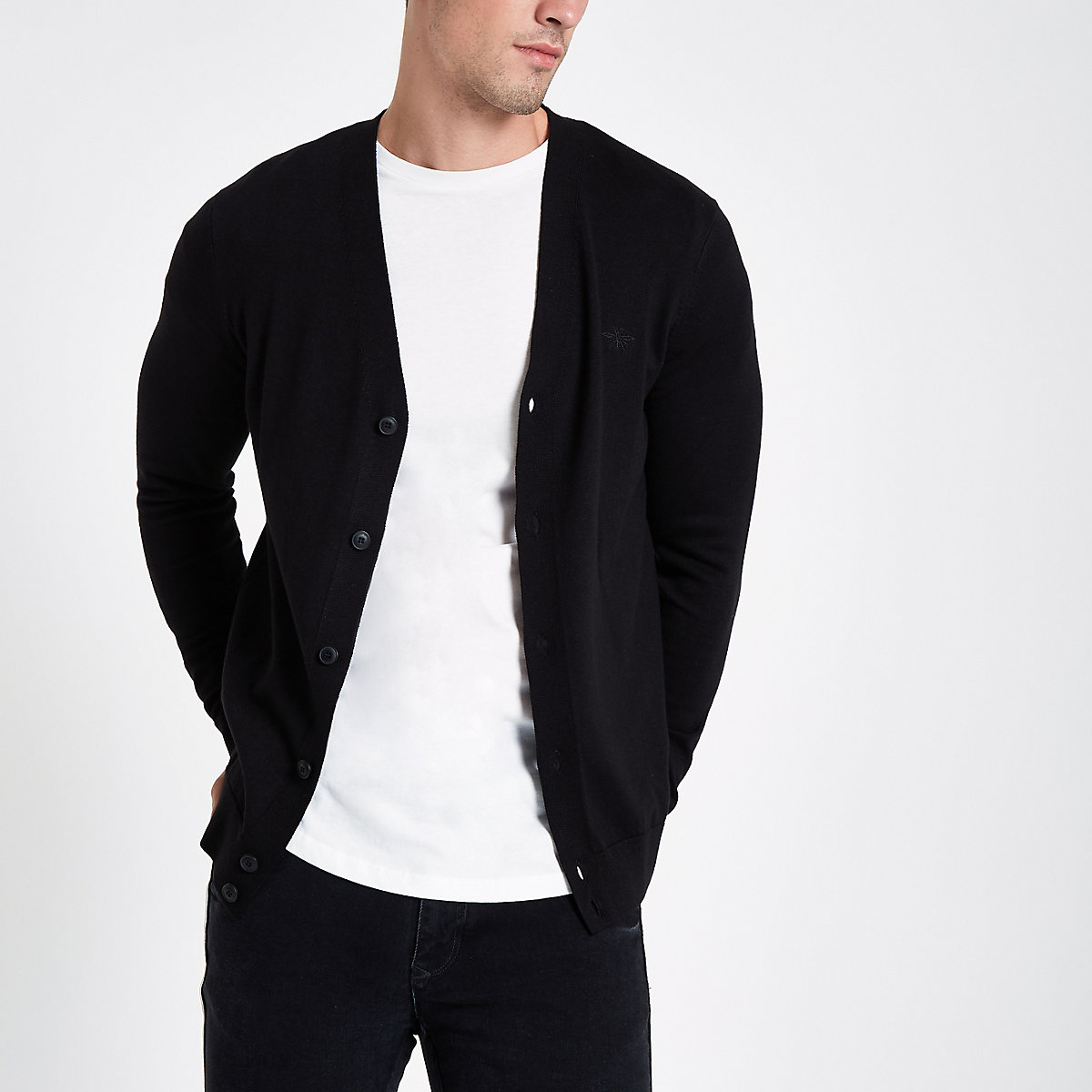 Black V neck button-down cardigan