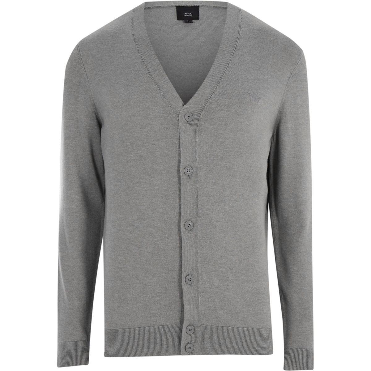 V up neck button cardigan Grey 1dxHqHgp