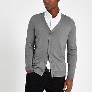 Cardigan gris boutonné à col en V