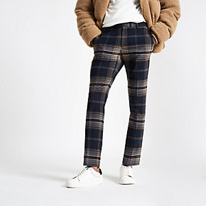 Navy check skinny smart pants