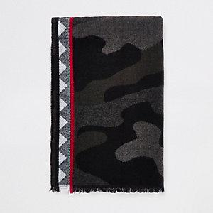Grey camo print scarf