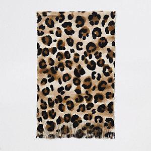 Ecru sjaal met luipaardprint