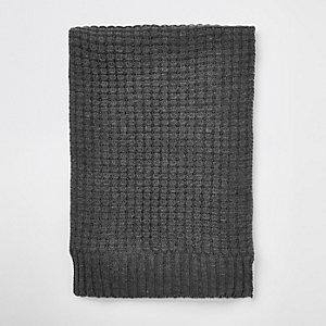 Grey textured knit scarf