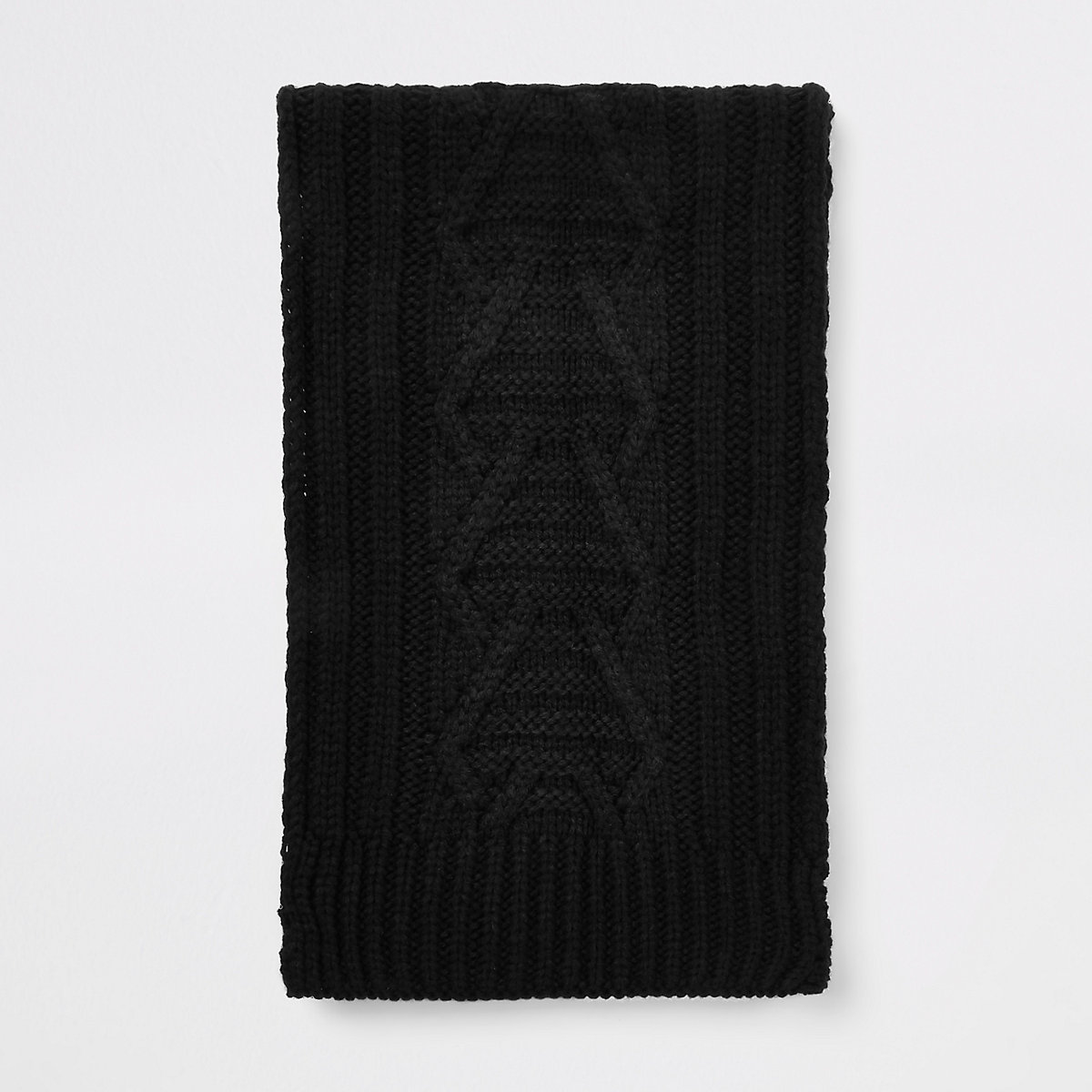 Black cable knit scarf