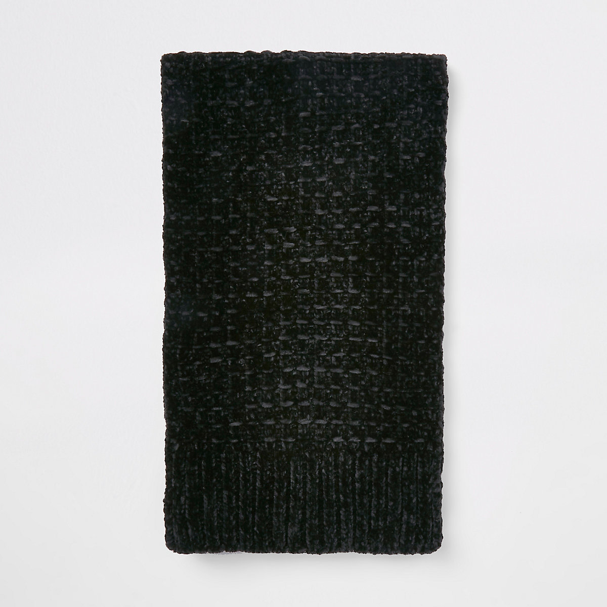 Black chenille knit scarf