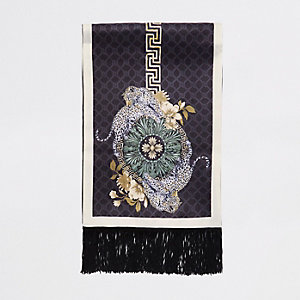 Black leopard print satin scarf
