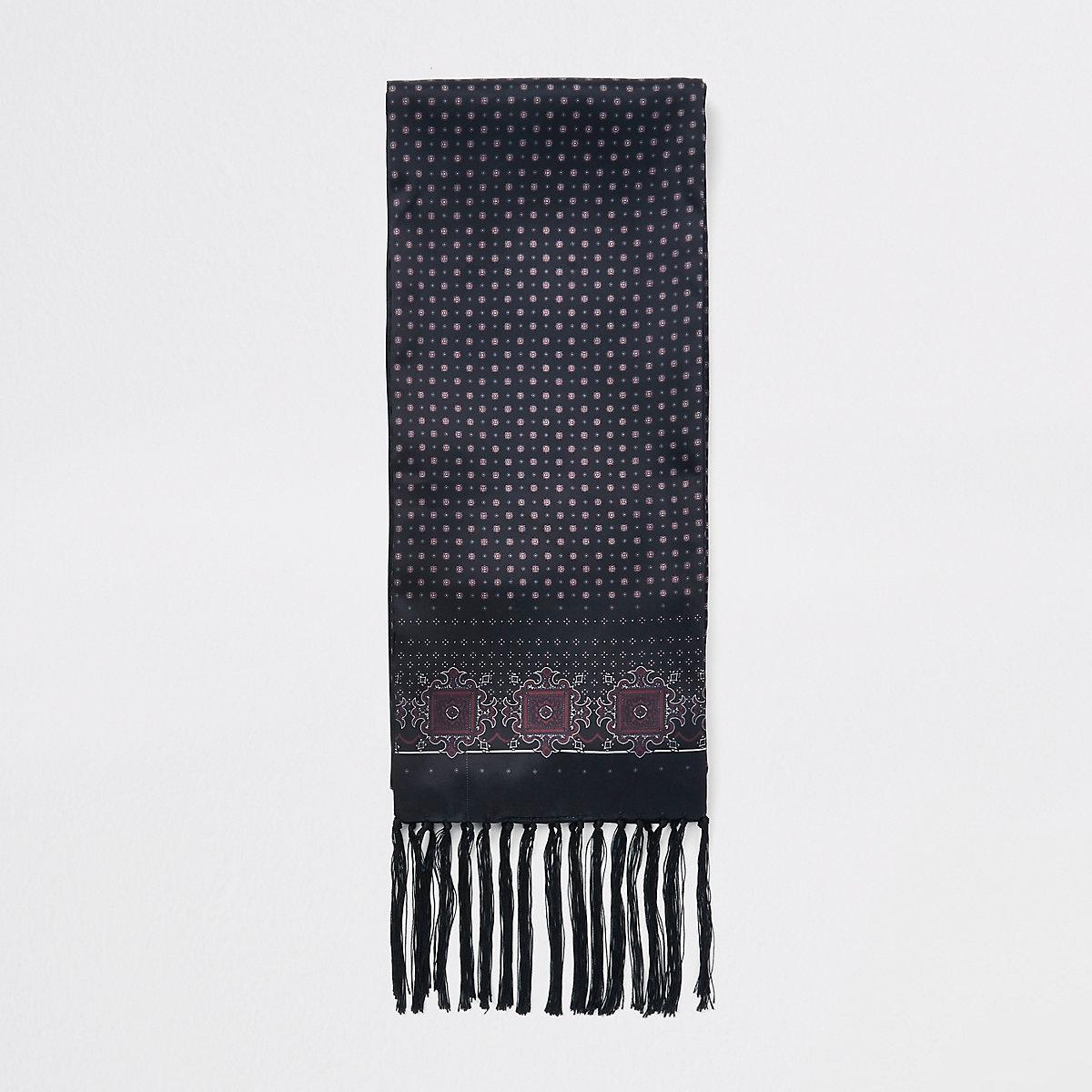 Black geo print satin scarf