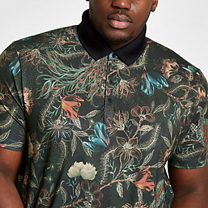 Big & Tall khaki floral print polo shirt