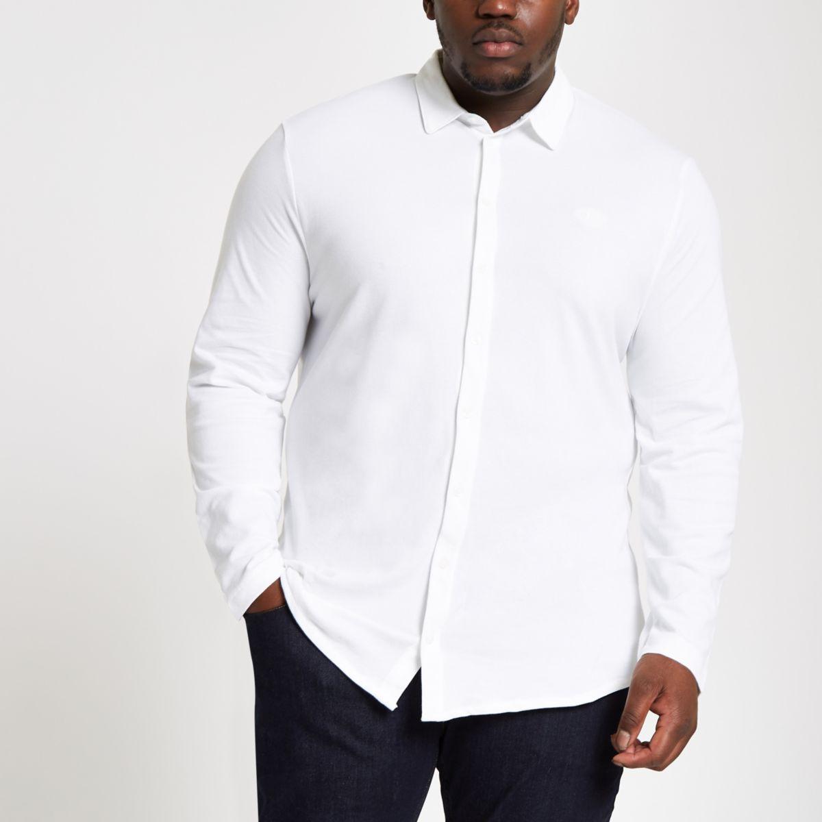 Big & Tall white button through shirt