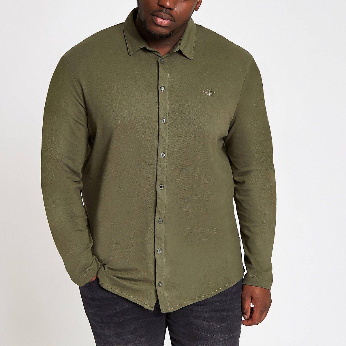 Big & Tall dark green button through shirt