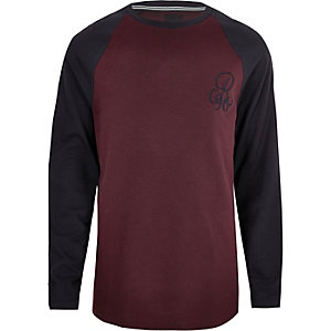 Big & Tall – T-shirt ajusté bordeaux à manches raglan